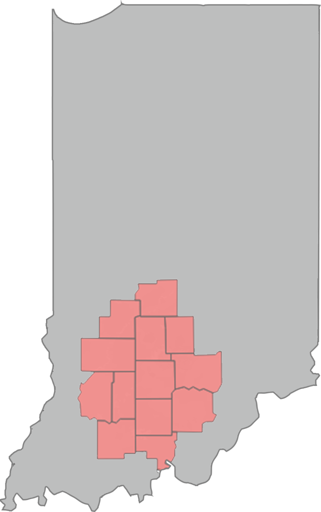 State of Indiana with Brown, Crawford, Daviess, Dubois, Greene, Jackson, Lawrence, Martin, Morgan, Orange, Owen and Washington counties highlighted in a muted red.