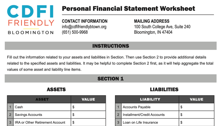 The CDFI Friendly Bloomington Personal Financial Statement Worksheet