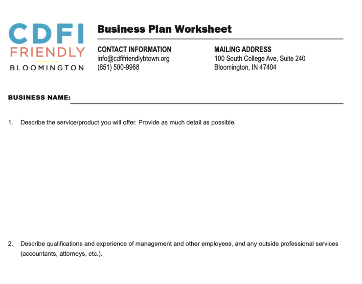 An image of the CDFI Friendly Bloomington Business Plan Worksheet