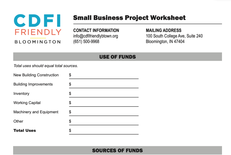 An image of the CDFI Friendly Bloomington small business project worksheet