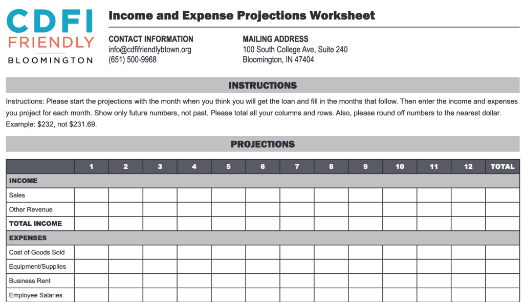 The CDFI Friendly Bloomington Income and Expense Projections Worksheet